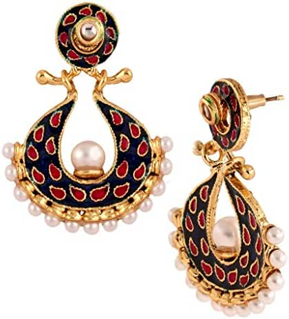 The Jewelbox Double Side Changeable Blue Red Green Pearl Meenakari Earring for Women