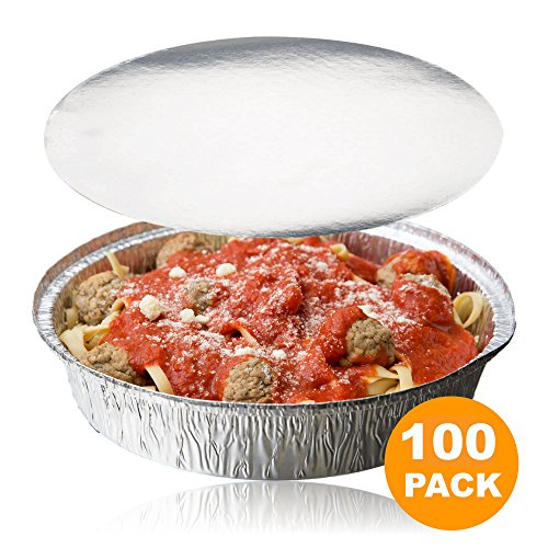 - Round 9 Inch Disposable Aluminum Foil Pan Take Out Food Containers with Flat Board Lids, Steam Table Baking Pans, 46 oz, 2.9 lb, 1.5 Quart [100 Pack]