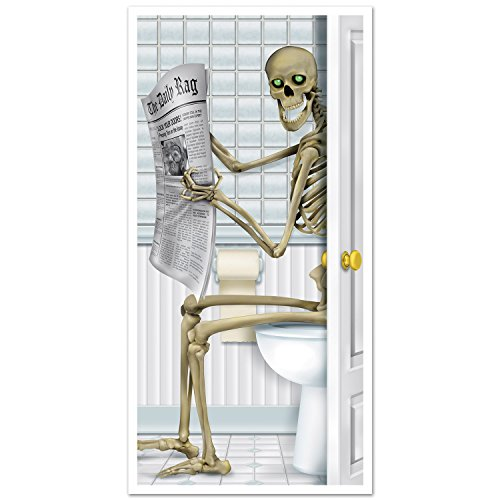 Beistle 00014 Skeleton Restroom Door Cover. Each door cover is printed one side on 2.25 mil plastic and measures 30 Inch by 5 feet. Indoor and outdoor use. Great for any Halloween home party.