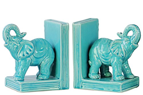Urban Trends Ceramic Standing Trumpeting Elephant on Base Bookend Assortment of Two Gloss Finish Blue, Blue