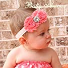 Lovely Ovely Unusal Cotton Girls Baby Two Red Roses Diamond Hairband Headband