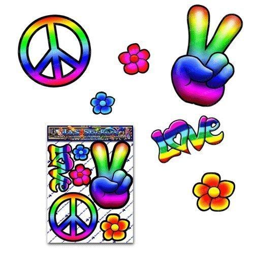Etiquetas engomadas grandes del coche de la etiqueta del paquete del hippy de la paz para la caravana de las motos del coche - ST00007_LGE - JAS