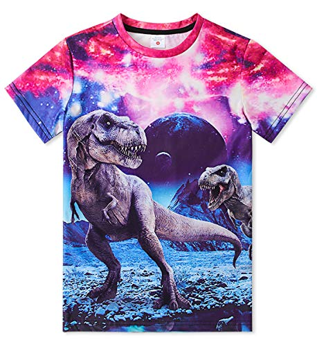 Funnycokid Boys Girls 3D Dinosaurs Graphic Short Sleeve Cool Funny T-Shirt Top Tee Size - Graphic Tee Dinosaur