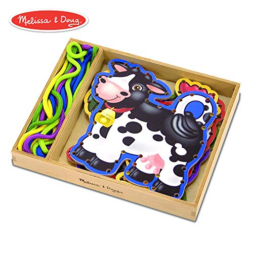 Melissa & Doug Lace & Trace Farm Activity Set (5 Wooden Panels, 5 Matching Laces)