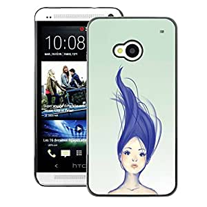 A-type Arte & diseño plástico duro Fundas Cover Cubre Hard Case Cover para HTC One M7 (Blue Purple Haired Girl Womb Green)