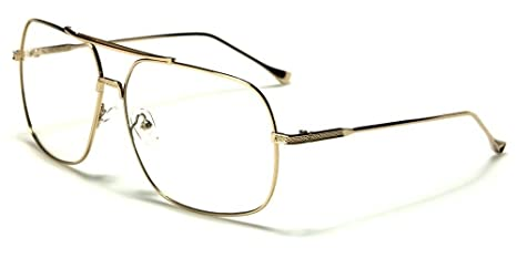 6878a2f0910 Image Unavailable. Image not available for. Color  Gold Squared-Off Aviators  Sport Thin Wire Rims Men Women Clear Lens Glasses