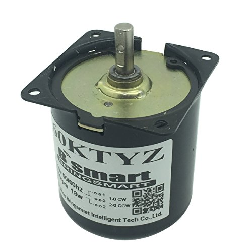 Bringsmart 60ktyz 2.5rpm 110V AC Motor Low Speed Mini Gearbox Electric Motor Barbecue High Torque 110V Geared Motor Synchronous Reduction Motor Reversible (60KTYZ) - Gear Reduction Torque
