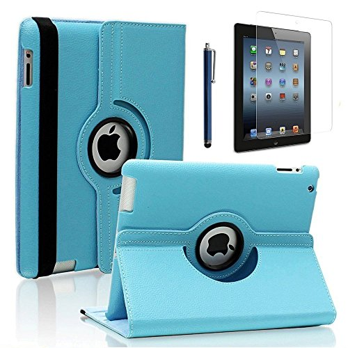 ipad 2/3/4 Case,Uvital 360 Degree Rotating PU Leather Case with Screen Protector Cover,Multi-angle Stand Folio Cover with Smart Wake Up Sleep for iPad 2 3 4(Sky Blue) (Leather Stand)