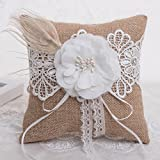 "LONGBLE Wedding Bridal Burlap Lace Ring Pillow Jute Hessian Rustic Vintage Bowknot Ring Bearer Bowknot Ribbon Cushion White Flower Artificial Feather Decor Square 7.28""x7.28"" (B2)"