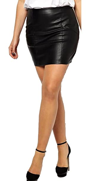 better price for novel style really comfortable Rosybeat Women's Plus Size Pu Faux Leather Short Skirts ...