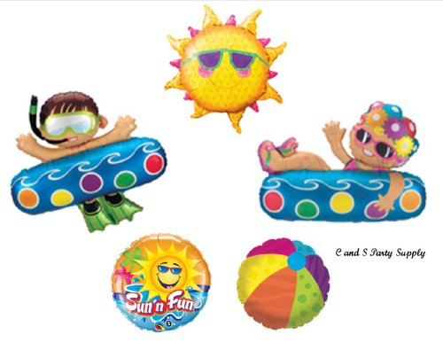 Pool Party Swimming Luau Summer Birthday Party balloons Decorations Supplies
