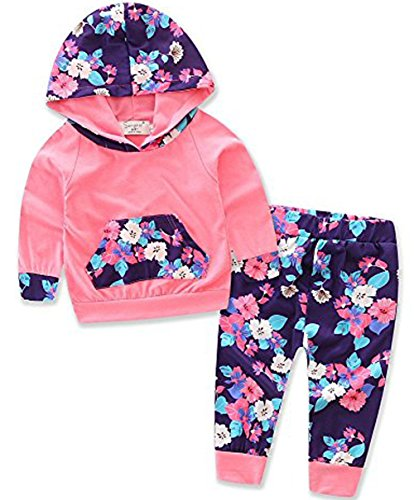 Thrivqyaf Baby Girls Floral Hoodie+ Floral Pant Set Leggings 2 Piece Outfits (2-3 Years, Pink 2)