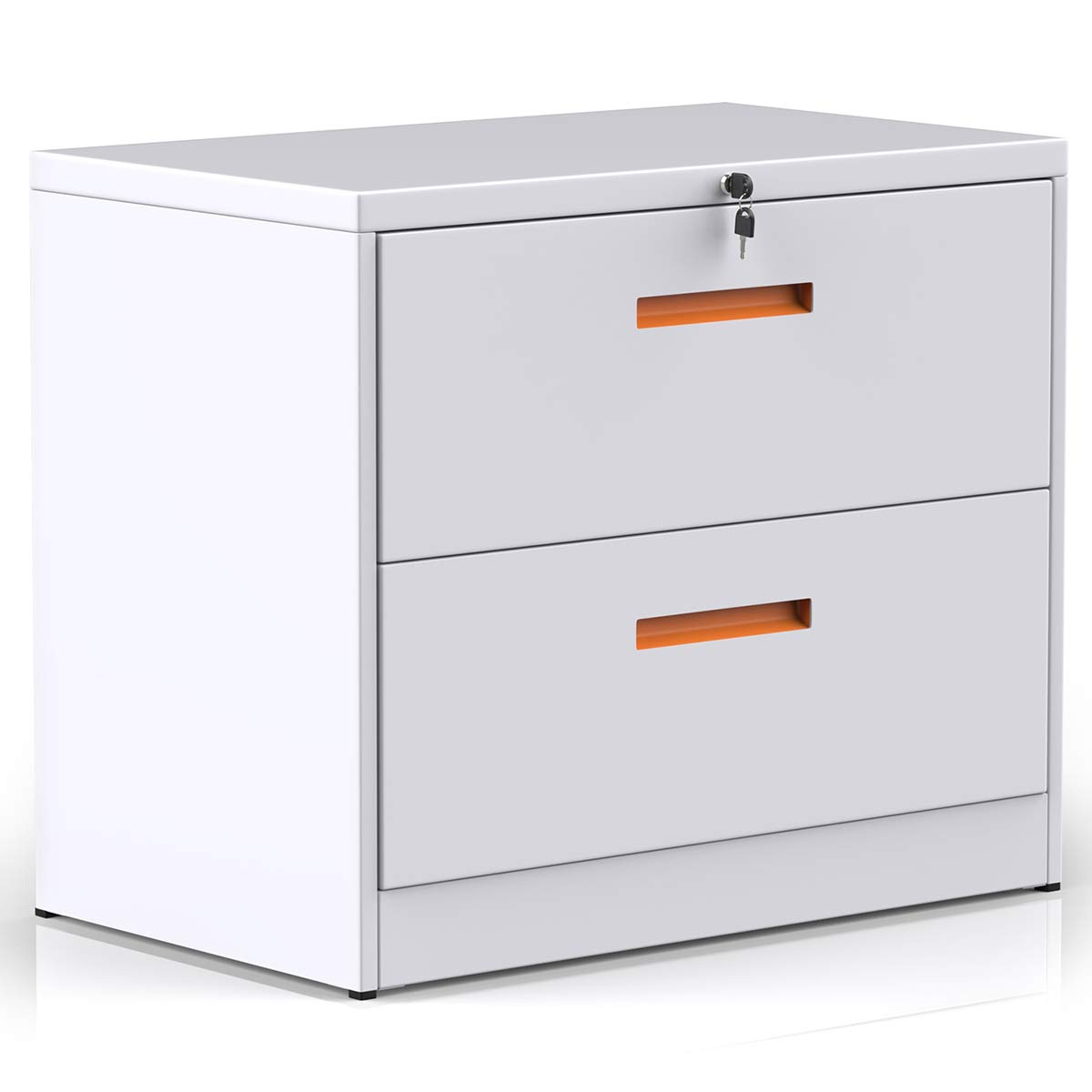 2 Drawers Lateral File Cabinet with Lock, Lockable White Metal Filing Cabinet for Home and Office by ModernLuxe