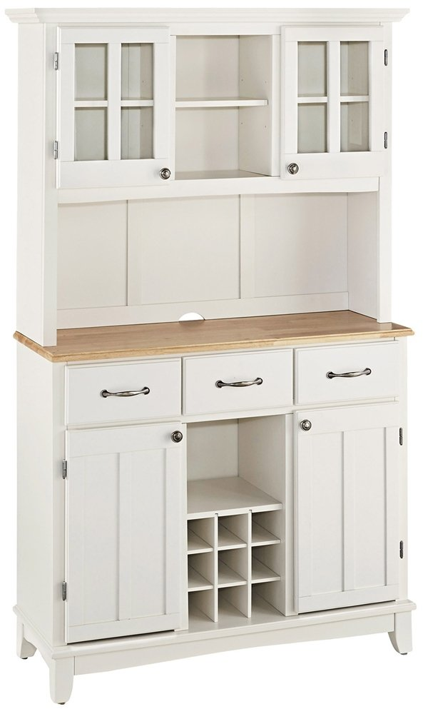 Home Styles 5100-0021-12 Buffet of Buffets 5001 Series Natural Wood Top Buffet Server and Hutch - White Finish