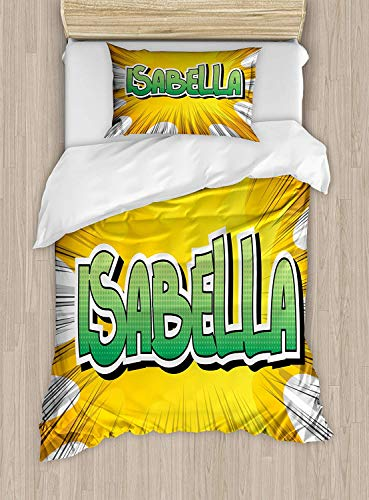 Isabella Twin Size Duvet Cover Set, American Birth Name on Retro Style Fun Cartoon Backdrop Poster Design, Decorative 2 Piece Bedding Set with 1 Pillow Sham, Yellow Green and White