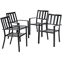 PHI VILLA Outdoor Patio Steel Frame Slat Seat Dining Arm Chairs Set of 4 for Garden,Backyard - Black