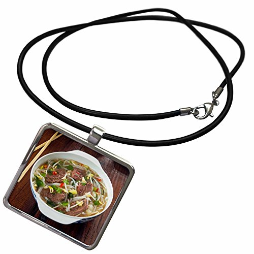 3dRose Danita Delimont - Food - Vietnamese Pho beef broth, Vietnam, Asia - Necklace With Rectangle Pendant (ncl_277056_1)