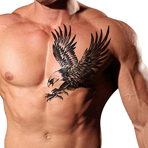 Eagle Temporary Tattoo (TAFLY Men's Temorary Tattoos Black Large Eagle Wings Pattern Chest Transfer Tattoo Stickers for Men 2 Sheets)