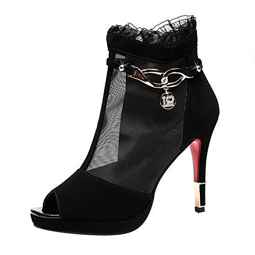 Passionow Women's Elegant Peep Toe Zipper Ankle Strap Mesh Lace High Top Ankle Booties