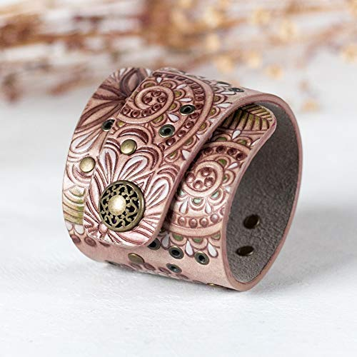 Metallic Bronze Red Brown Bracelet for women Craft Bracelet with Snap Closure Width 2 1//3 Inches Handmade Leather Cuff Bracelet