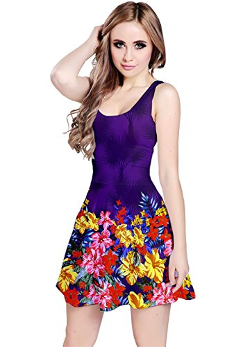 Cowcow Womens Colorful Hawaii sin mangas patinador vestido – Plus Size morado