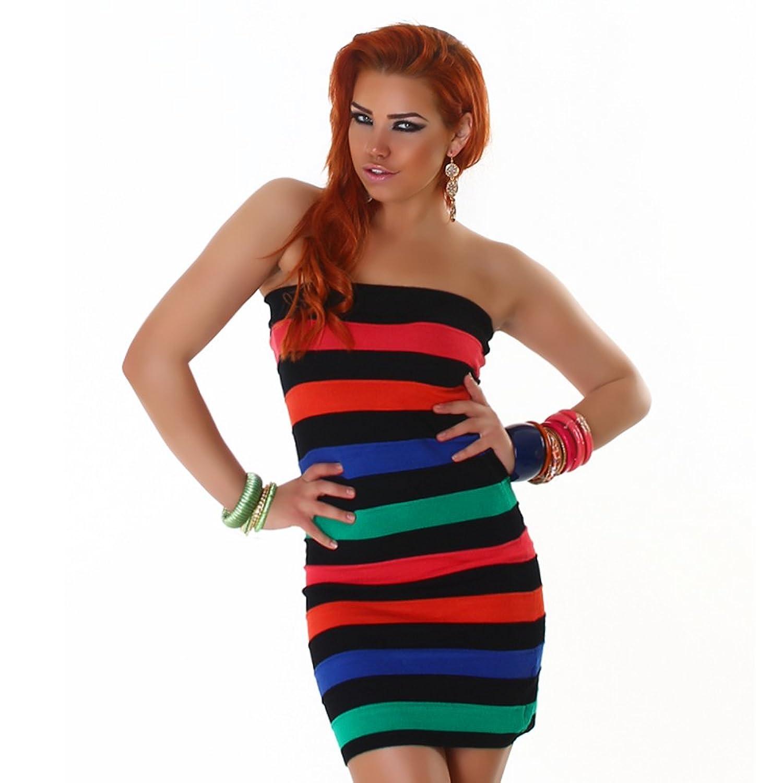 Bandeau Kleid Strickkleid Minikleid gestreift 32,34,36,38 - verschiedene Farben