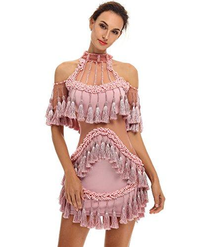 Sheer Embellished Party Dress - 1