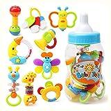 LamicAR 9Pcs Lovely Bee Giraffe Moon Baby Rattle Musical Hand Bell Education Kids Toy Random Color