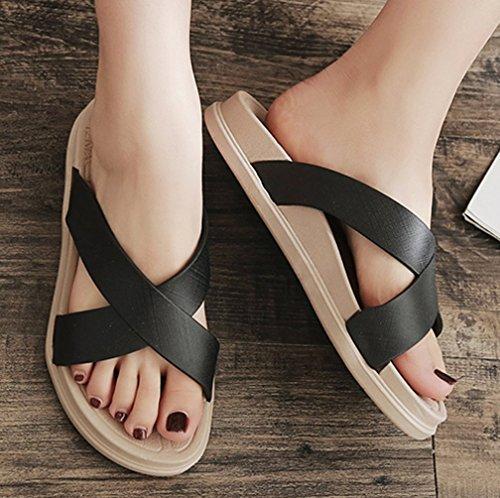 Cattior Womens Été Confortable Pantoufles En Plein Air Plage Diapositives Sandales Noir