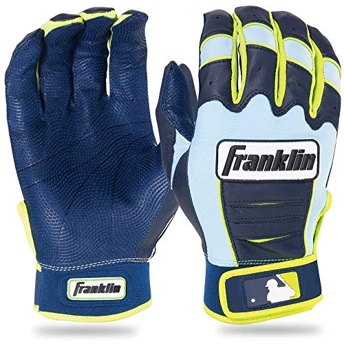 Franklin Sports Adult MLB CFX Pro Batting Gloves, Adult Small, Pair, Navy/Carolina Blue