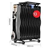 """2000W""""S' Oil-Filled Full Room Radiator, Black Gold 3 Files Electric Timer Heating Radiator Desk Tablets For Bedroom, Radiator Heater Adjustable Thermostat (Size : 13 pieces)"""