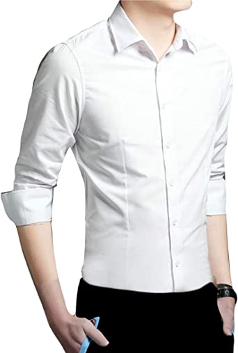 Camisa de Vestir para Hombre, de Seguridad, Lisa, Ajustada, Formal, sin Planchado, de Manga Larga Blanco Blanco S: Amazon.es: Ropa y accesorios