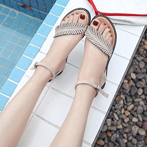 Donna Piatti scarpa Arrotondata Punta da Elecenty Beige con Fibbia tondi Fibbia Sandali Vintage Sandali e con q1xwSIAU
