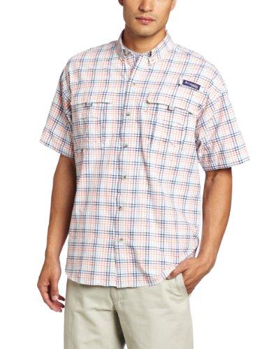 Columbia Men's Super Bahama Short Sleeve Shirt, Bright Peach/Seersucker, Medium
