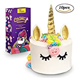 3D Gold Unicorn Cake Topper with Eyelashes,Horn and Ears,Unicorn Party Supplies for Girls Boys Birthday Party,Wedding,Baby Shower by FZR Legend (10 pcs)