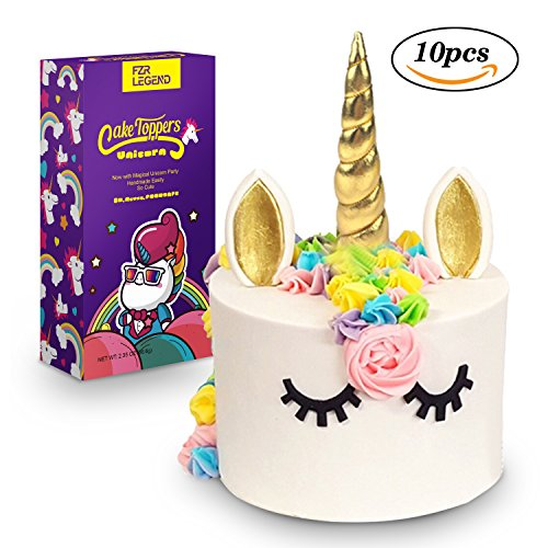3D Gold Unicorn Cake Topper with Eyelashes,Horn and