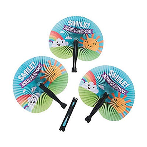 Smile Jesus Loves You, Hand Fans for Kids, Party Favors, Bulk, 24 Count