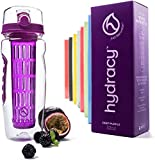 Hydracy Fruit Infuser Water Bottle - 32 Oz Sports Bottle with Full Length Infusion Rod, Time Mark and Insulating Sleeve Combo Set + 27 Fruit Infused Water Recipes eBook Gift - Deep Purple