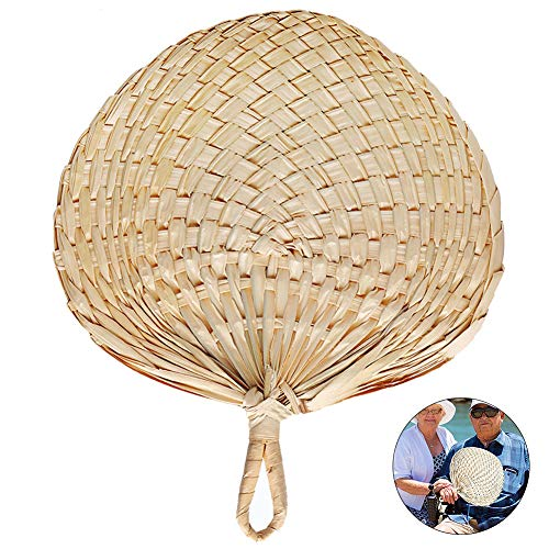 RoJuicy Chinese Style Handmade Fan Natural Hand Weaving Palm Leaf Fan Blades Portable Cooling Fan for Camping Hiking Home Decoration]()