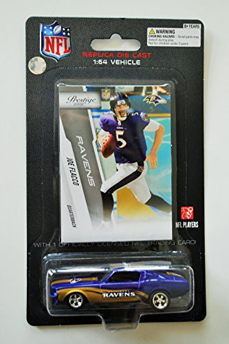PRESS PASS NFL Players REPLICA DIE CAST Joe Flacco Car with Card 1:64 Scale FORD MUSTANG BALTIMORE RAVENS