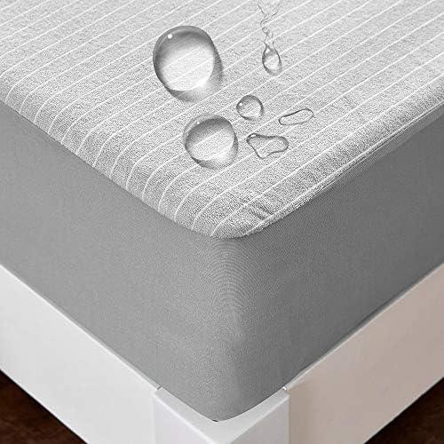 クモリ(Kumori) ボックスシーツ 防水タイプ マットレスに染み込まない アレルギー対策 タオル生地 グレー シングル・100X200cm