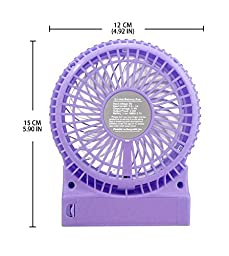 Momoday® Round Mini Portable Electric Personal Fans LED Lights Function Fans Wireless USB Rechargeable Desk Fan Table Fan 3 Modes Wind Speed Adjustable with 18650 Rechargeable Battery included For Office Or Car use (Purple)