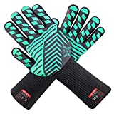 JH Heat Resistant Oven Gloves:EN407 Certified Withstand 932 °F, Double Layers Silicone Coating, BBQ Gloves & Oven Mitts for Cooking, Kitchen, Fireplace, Grilling, 1 Pair (Extended Long Cuff)