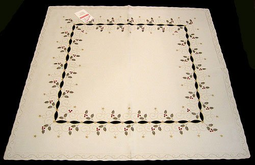 Funke Holiday Holly Linen Square Tablecloth Made in Germany