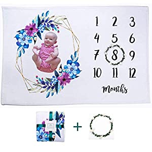 Baby Monthly Milestone Blanket | Extra Soft Premium Fleece Large 60″x40″ | Free Bonus Floral Wreath | Best Baby Shower Gift | Photography Background for Newborn | SugarBean kids |