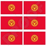 "KYRGYZSTAN Flag KYRGYZ 40mm (1,6"") Mobile Cell Phone Vinyl Mini Stickers, Decals x6"