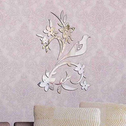 diy wall decor birds. walplus mirror wall art \u0026quot;bird tree\u0026quot; stickers removable self-adhesive mural diy decor birds a