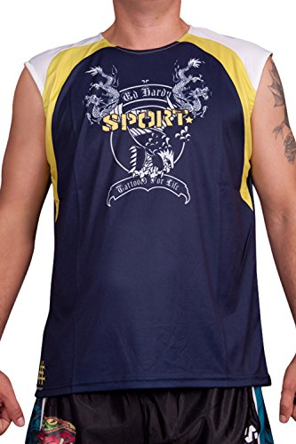 Ed Hardy Mens Eagle Dragon Sport Tank Top - Blue - X-Large Ed Hardy Mens Clothing