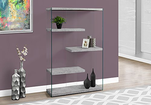 Monarch Specialties I I 3234 Bookcase Tempered Glass, 60