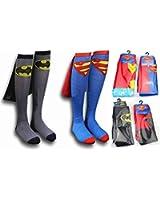 Zmart Men's Super Heros Knee High Cape Cotton Funny Sock(4 Pack)